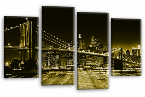 Brooklyn Bridge New York Skyline Sepia Panorama Canvas Wall Art Home Decor